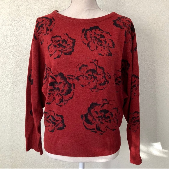 5a3d06939 Shapely Knits Wool Angora Red Floral Sweater